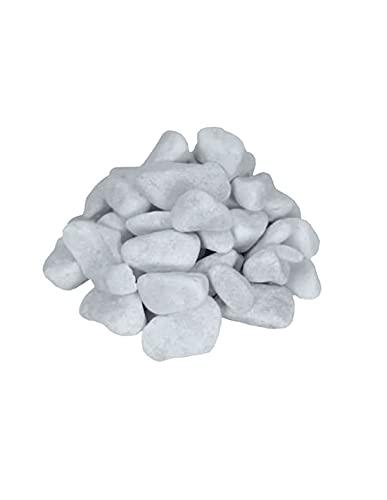 Jardin202 - Canto rodado Blanco Piedra de mármol | 25kg | 20/40 | Piedras Decorativas para Jardín o Espacios Exteriores