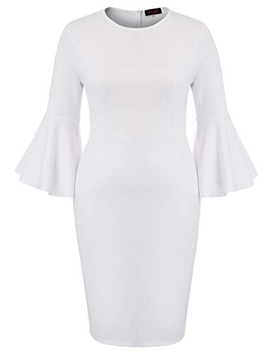 White Plus Size Dress for Women Fall for Cocktail Party Church Date Night Wedding Guest 24W