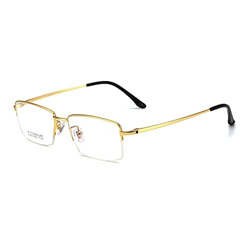 HQMGLASSES Gafas de Lectura de luz Anti-Azul de Enfoque múltiple Progresivo para Hombres, Marco de Titanio Puro Ultraligero Lector de Lentes de Resina HD dioptrías +1.0 a +3.0,Oro,+2.0