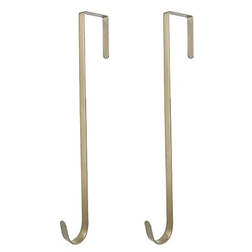 tatoko 2 Pack 12 Inches Heavy Duty Metal Door Wreath Hanger(20 lbs Capacity), Over The Door Utility Hook for Wreath, Christmas Ornament, Backpack, Handbag or Welcome Sign (Bronze)