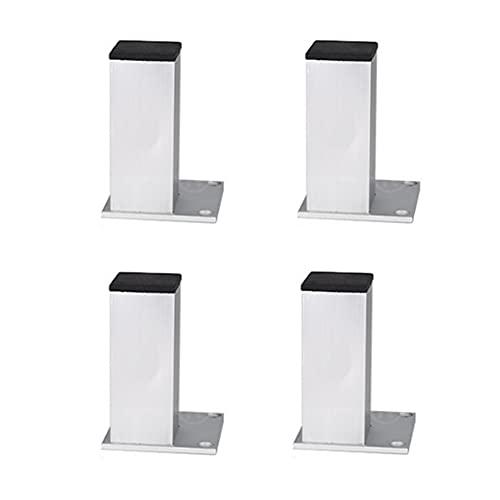 4X Patas de Sofá, Patas Para Muebles de Metal, Patas de Mesa de aleación de aluminio Cuadrado Pies de Gabinete/Patas de Gabinete de TV/Patas de Mesa de Café(10cm)