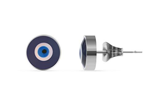 Made by Nami Filigrane Ohr-Stecker mit türkischem Auge Symbol aus Edelstahl in Silber - Ohrringe Damen-Schmuck - Geburtstagsgeschenk für Frauen und Mädchen - Nazar Boncuk Amulett Silber