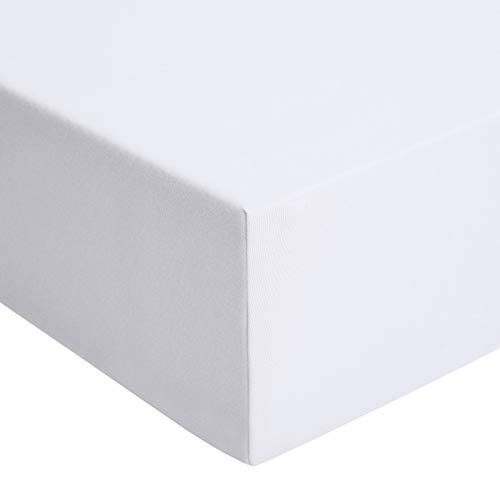 Amazon Basics - Spannbetttuch, Jersey, Weiß - 120 x 200 cm