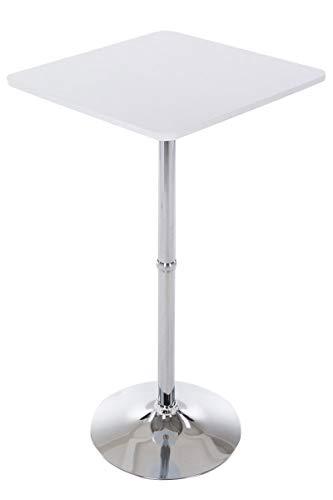 CLP Quadratischer Stehtisch Mit Holz-Tischplatte | Bistrotisch Mit Robustem Metallgestell Und Stabliler Bodenplatte | In Vielen Farben, Farbe:weiß