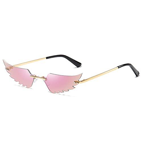Gafas De Sol Mujer Gafas De Sol Polarizadas para Hombres/Mujeres Retro Moda Unisex Gafas De Sol Punk Pequeñas Sin Montura Rosa