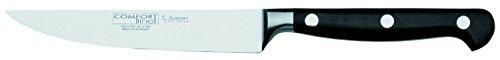 Burgvogel Solingen Comfort Line scharfes Steakmesser geschmiedet 12 cm, rostfrei, spülmaschinenfest, genietet, schwarz, hochwertig