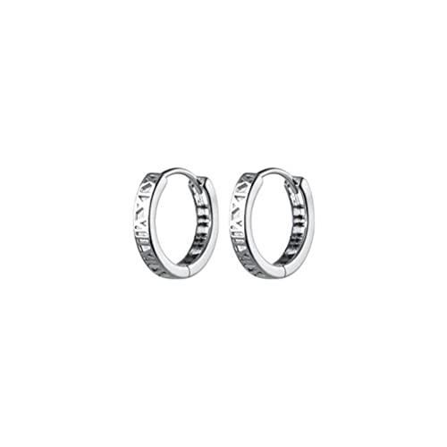 BEWITCHYU Pendientes Huecos de Plata con Números Romanos S925, Pendientes Cortos de MujerPlata, Plata 925
