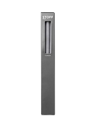 Stoff Nagel - Kerzen, Stabkerzen - Taper Candle by Ester & Erik - speziell Kerzenleuchter - 6er Set - Farbe: Light Grey, Grau