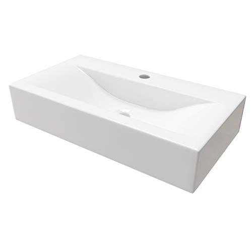 KERABAD Design Keramik Waschbecken Waschtisch Waschschale Aufsatzwaschbecken Aufsatzwaschtisch Gäste WC Becken KBW153 BxTxH 45x30x10cm