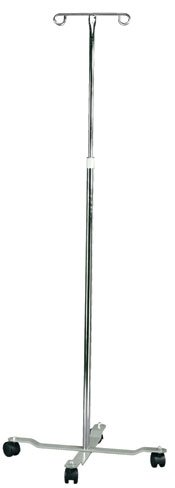 MABIS Adjustable Height I.V. Pole, 4 Two-Wheel Casters and 2 Prongs, Height Adjustable from 47 to 82 Inches, Silver