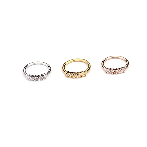 KEHUITONG PSWK 1 Pcs 0.8x8mm Nose Piercing Body Jewelry Part Nose Hoop Nostril Nose Ring Tiny Flower Helix Cartilage Tragus Ring (Main Stone Color : 5 stones, Metal color : Rose gold)