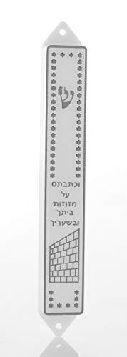 Boîtier de Mézouza en Plastique Dessin Classique Blanc & argenté Kotel idée Cadeau Protection Foyer Mitzvah juive décoration