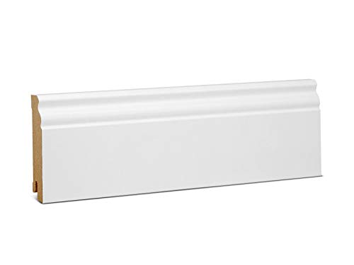 KGM Hamburger Sockelleiste Altberliner Profil – Weiß folierte MDF Fußbodenleiste – Maße: 2500 x 19 x 90 mm – 1 Stück
