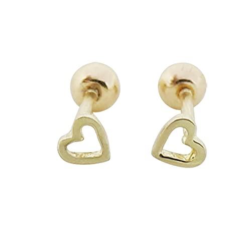 S925 Love Pendientes pequeños en forma de corazón Tornillo Atornillado Uñas de hueso de oreja Pendientes de cartílago de oreja pequeños Uñas de cartílago simples y pequeñas Plata