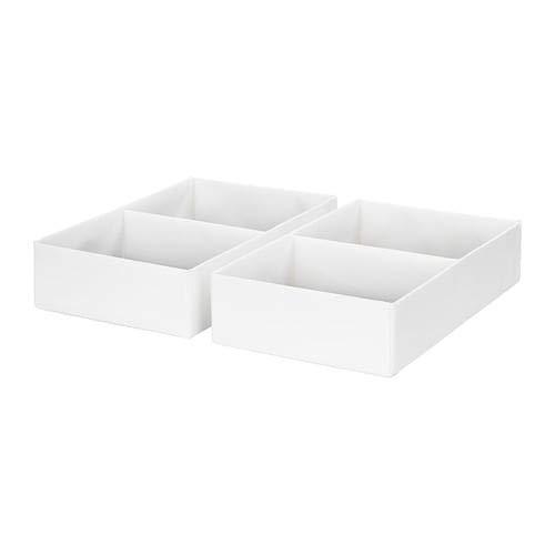 RASSLA Ikea - Caja con compartimentos (25 x 41 x 9 cm, 2 unidades), color blanco