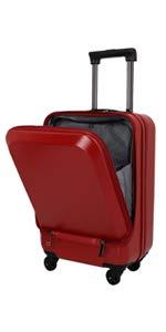 ラッキーパンダ luckypanda TY5801 スーツケース フロントオープン ファスナータイプ TSAロック 機内持ち込み 小型 Sサイズ マットレッド