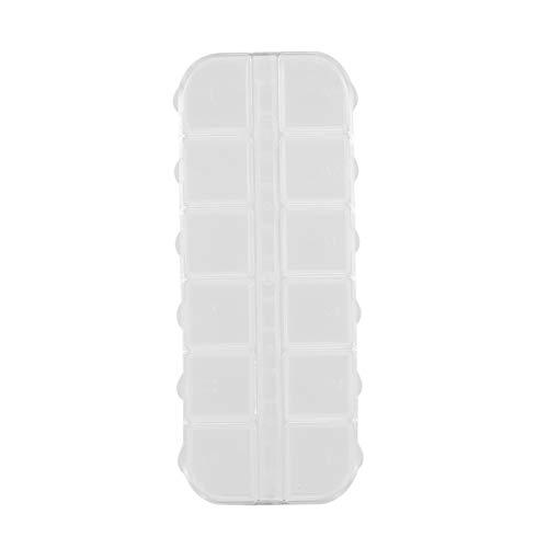 CHOUCHOU Colgante Pendientes 12 Transparente Caja de plástico Caja de Rejillas de múltiples Funciones del Organizador de la píldora de la joyería del Clavo del Arte Anillo de Drogas