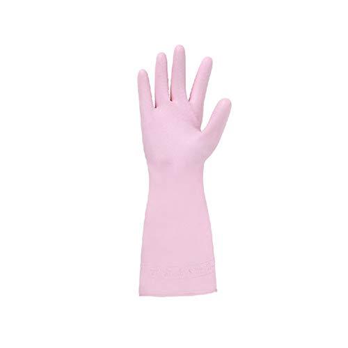5 par Guantes de goma Guantes de Látex Hogar, lavandería lavar platos de caucho guantes de limpieza Para el uso de jardinería de limpieza de la cocina en el hogar,Rosado,L