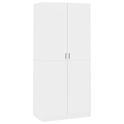 vidaXL Kleiderschrank mit 2 Türen Garderobenschrank Garderobe Schrank Schlafzimmerschrank Dielenschrank Hochglanz-Weiß 90x52x200cm Spanplatte