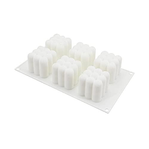 ZHANGHONGWEI 6 cavidades DIY Aromaterapia Molde de Vela de Silicona con Vela de Yeso Hecho a Mano Velas de Soja de Cera Moldes de jabón Mousse Torta Molde Suministros