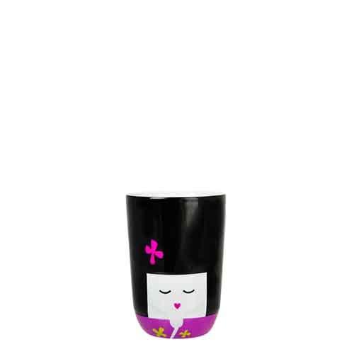 QDO 567229 Folklore Tasse Double-Paroi Kokeshi Porcelaine Noir 210 ml