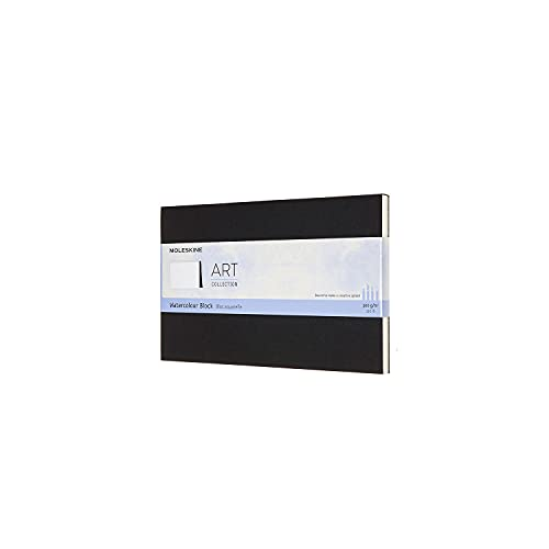 Moleskine Art Watercolor Block, Hard Cover, Large (5' x 8.25') Plain/Blank, Black, 20 Pages, 8053853603234