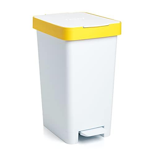 Tatay Cubo de Pedal Smart, 25L de Capacidad, Pedal Retráctil, Polipropileno, Libre de BPA, Bolsa Basura 30L. Color Amarillo Reciclaje. Medidas 26 x 36 x 47cm
