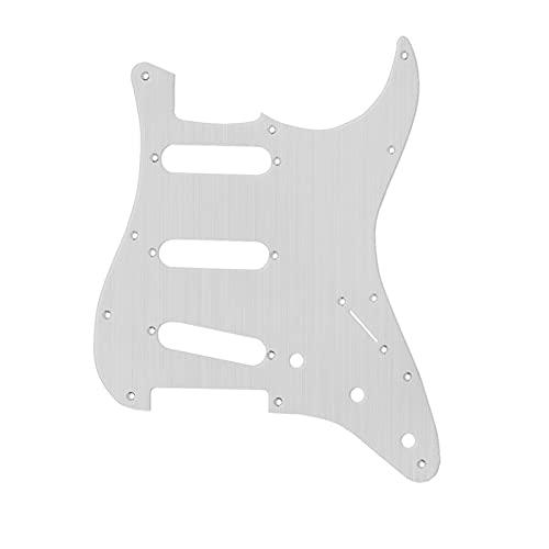 Accesorios de Guitarra Pickguard De Metal De Aluminio 11 Orificio Guitarra Eléctrica Pickguard SSS con Tornillos para La Placa De Rasguño De Guitarra, Color Plateado