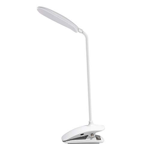 DEEPLITE - Lámpara LED de clip de 3 niveles de brillo regulable, funciona con pilas para escritorio, cabecero de cama, cuello de cisne flexible, control táctil