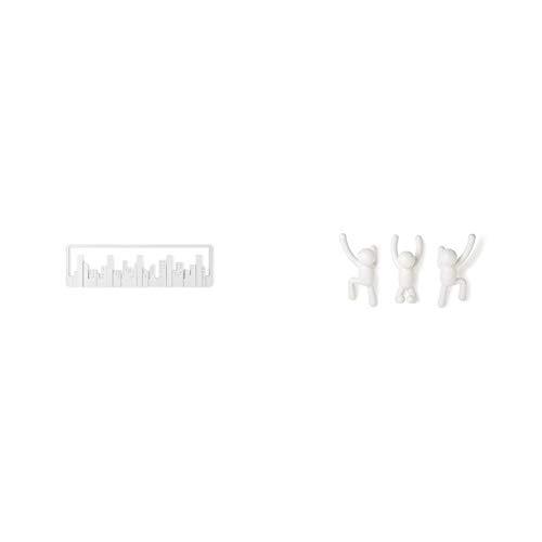 Umbra 318190-660 Skyline Multi Ganci, colore: Bianco & 318165-660 Buddy Appendiabiti, Bianchi