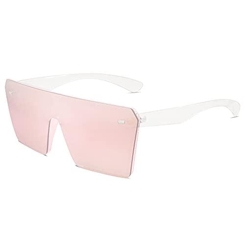 VANLINKER Gran parte superior plana de gran tamaño escudo gafas de sol para mujeres hombres cuadrados sin montura moda sombras VL9517