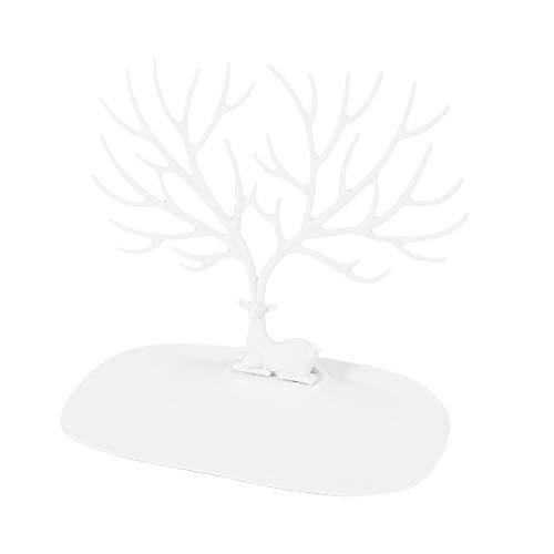 Ultnice - Joyero en forma de árbol, soporte para anillos, pulseras, bisutería, ABS, blanco, Blanco
