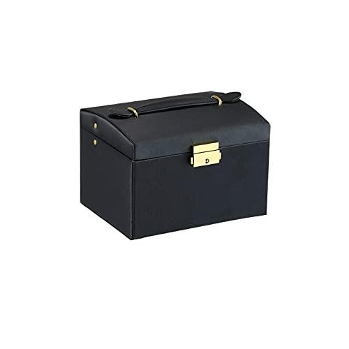 FACHA Caja de joyería unisex de piel sintética con tres cajones dobles, caja de regalo (color: blanco, tamaño: 13 x 14 x 17,5 cm)