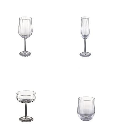 Regalo tulipán, cristal sin plomo, vasos de cóctel acanalados verticales, juego de vasos,Gold edged glasses*4