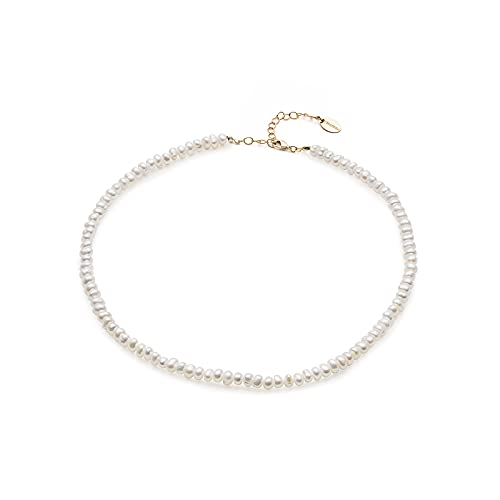NICANDRA White River Pearls Necklace 42 Cm - Stainless Steel Carabiner - Hypoallergenic - Adjustable Size