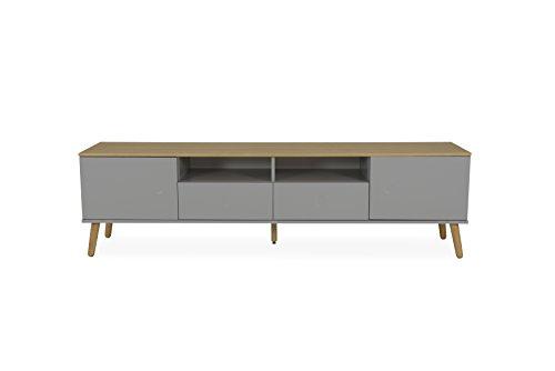 Tenzo Dot TV-Bank 2 Türen, 2 Schubladen, MDF und Spanplatte, Lackiert, Grau/Eiche, One size