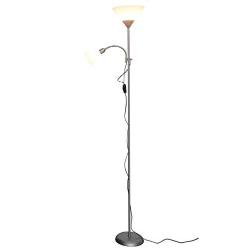 Lámpara de pie para salón Lámpara de pie de diseño nórdico moderno, sala de estar Lámpara de pie de doble cabezal ajustable Iluminación del hotel Trabajo de aprendizaje Lectura Luz de habitación LED L