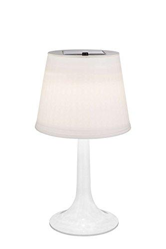 LED Solar tafellamp buitenlamp bed verlichting lampenkap wit (met schakelaar, zonnelamp, tafellamp)