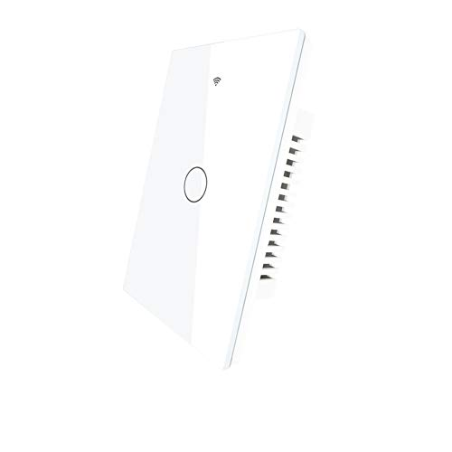 MOES WiFi RF433 Touch Wall Smart Switch No Neutral Wire Needed, Single Wire Smart Switch Compatible with Smart Life/Tuya App, Works with Alexa and Google Home 110V White 1 Gang.