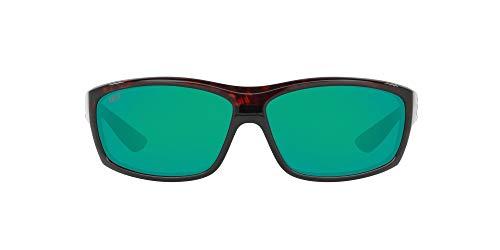 Costa Del Mar Men's Saltbreak Polarized Rectangular Sunglasses, Tortoise/Copper Green Mirrored Polarized-580P, 65 mm
