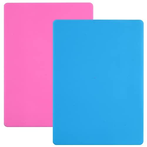 Alfombra de silicona de resina epoxy, 2 unidades de gran hoja de silicona para alfombra de pasta, para manualidades, cocina, moldes epoxi (30 x 40 cm, rosa y azul)