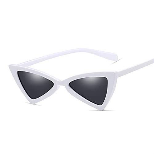 QSLS 1 pc Lindo Sexy Retro Gato Gafas de Sol Gafas de Sol Mujeres pequeño Negro Blanco triángulo Vintage Gafas de Sol Femenino UV400 (Lenses Color : WhiteGray)