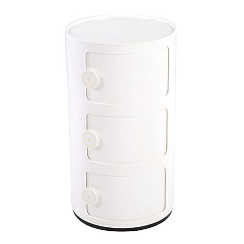 JYLSYMJa Gabinete de Almacenamiento de Tres Capas, Juegos de cajones de Armario, contenedor de Almacenamiento para baño, Dormitorio, Puerta corrediza de Forma Redonda, 63 x 32 cm(Blanco)