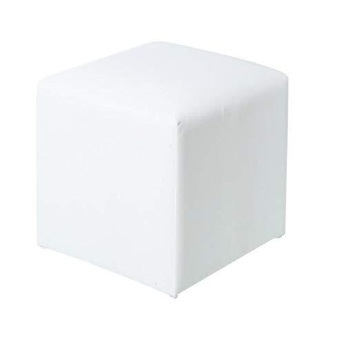 Tousmesmeubles Pouf d'extérieur Textilène Blanc - BELITUNG - L 45 x l 45 x H 43 - Neuf