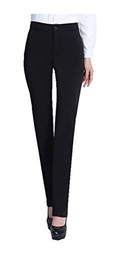 CYSTYLE Neue Damen Gerade Hose Kellnerhose Anzug Hose Anzughose Service Classic Style mit Elastische an Taile (Schwarz, M)