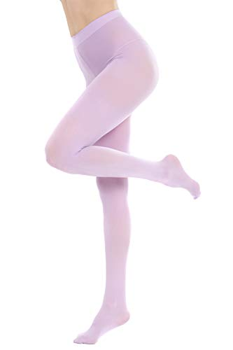 CozyWow Women's 80D Soft Solid Color Semi Opaque Footed Tights (Large-X-Large, Lavender)