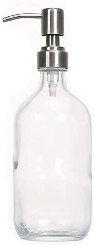Dispensador de jabón para platos para el lavabo de cocina 16 Oz Dispensador de jabón - Dispensador de jabón de vidrio con bomba de acero inoxidable, dispensador de jabón de mano con encimera, para enc