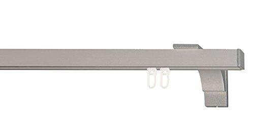 indeko COLMAR, eckige Gardinenschiene mit Innenlauf aus Aluminium auf Maß, 1-Lauf, edelstahloptik, Komplettset mit Zubehör