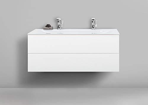 Intarbad ~ Badmöbel Set grifflos 120 cm Glas-Doppelwaschtisch mit Unterschrank und Led Spiegelschrank Grau Matt Lack IB5417
