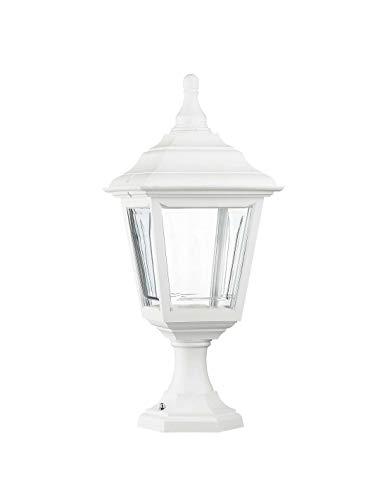 Cristher Lighting - Baliza sobremuro CLIC-CLAC 4 blanco portalámpara E27 exterior IP44. Baliza para muros de estilo clásico farol ideal para jardín de residencias.